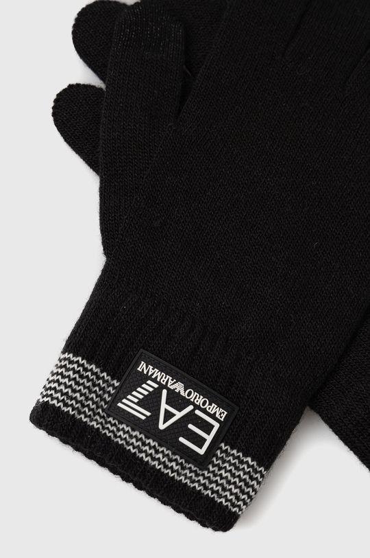 EA7 Emporio Armani - Rukavice z vlněné směsi černá