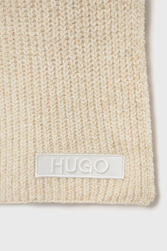 Hugo - Szalik z domieszką wełny kremowy