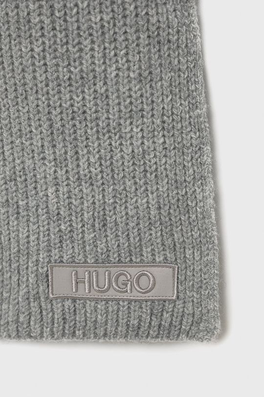 Hugo - Szalik z domieszką wełny szary
