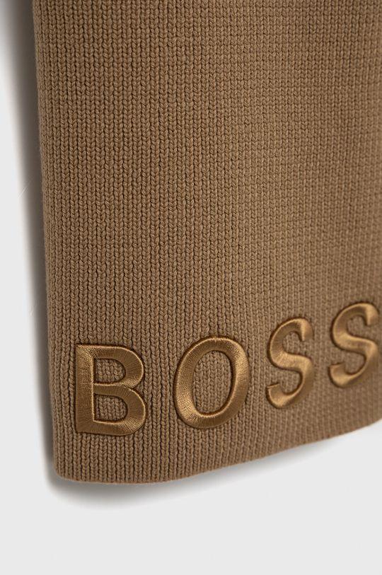 Boss - Szalik wełniany beżowy