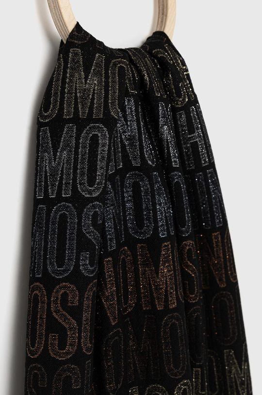 Moschino - Szal z domieszką wełny czarny