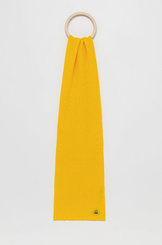 żółty United Colors of Benetton - Szalik wełniany dziecięcy Dziecięcy