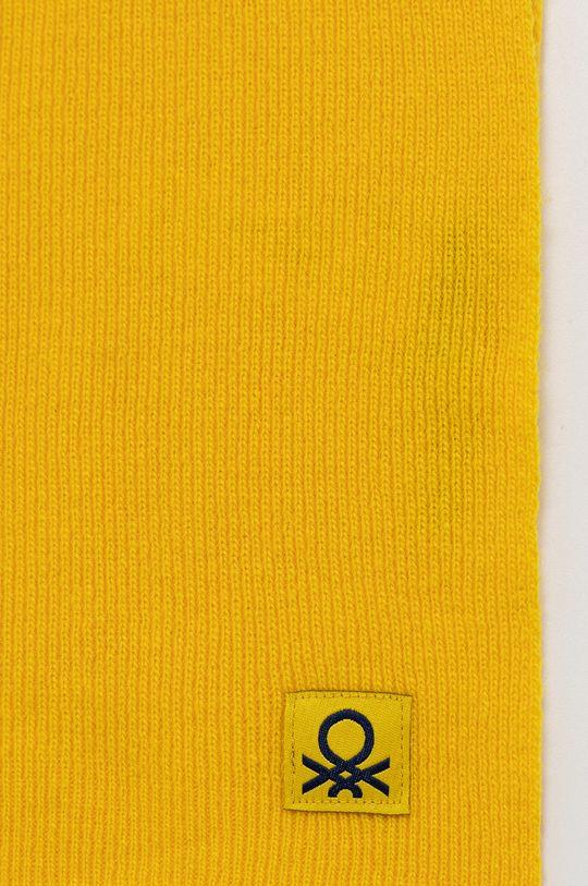 United Colors of Benetton - Szalik wełniany dziecięcy żółty