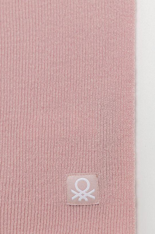 United Colors of Benetton - Szalik wełniany dziecięcy różowy