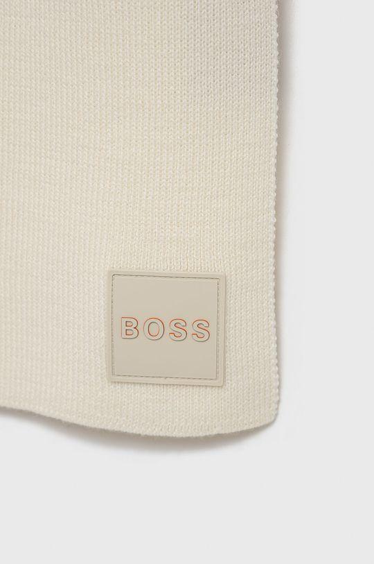 Boss - Szalik wełniany Boss Casual kremowy