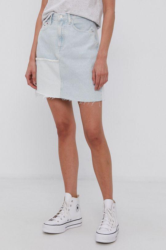 modrá Tommy Jeans - Bavlněná džínová sukně Dámský