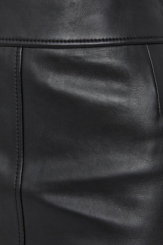 czarny Boss - Spódnica skórzana