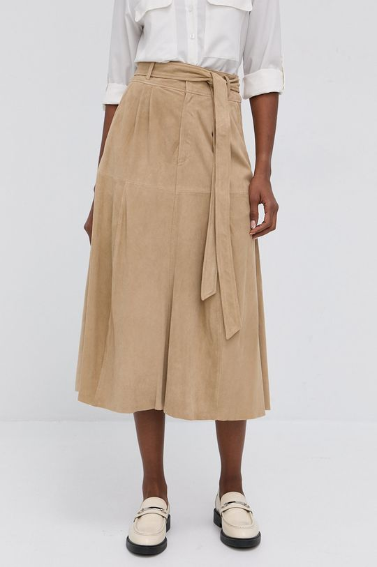 Lauren Ralph Lauren - Semišová sukně béžová