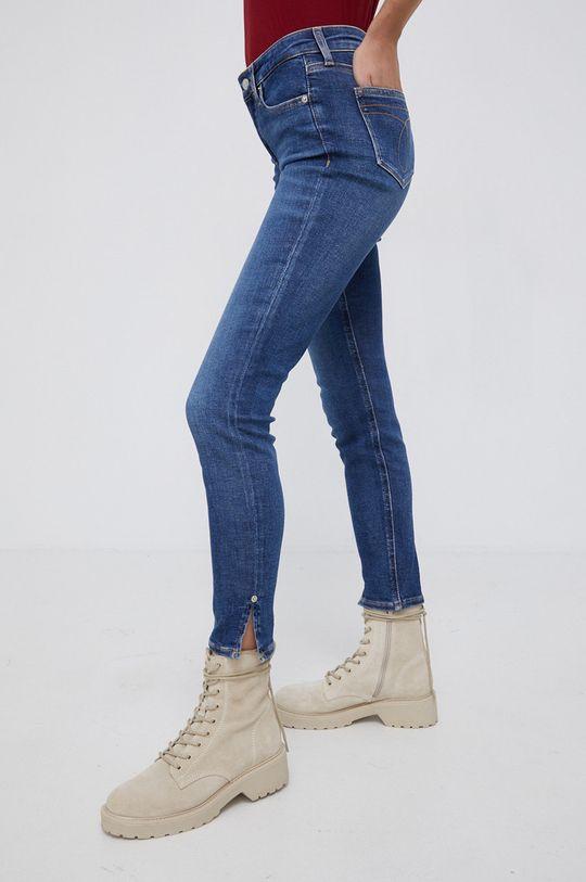 niebieski Calvin Klein Jeans - Jeansy Mid Rise Skinny Ankle Damski