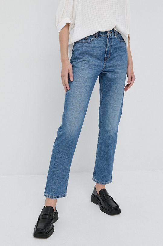 niebieski Boss - Jeansy bawełniane Straight Crop Damski