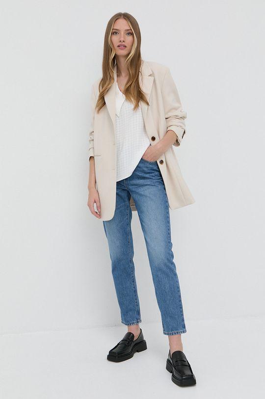 Boss - Jeansy bawełniane Straight Crop niebieski