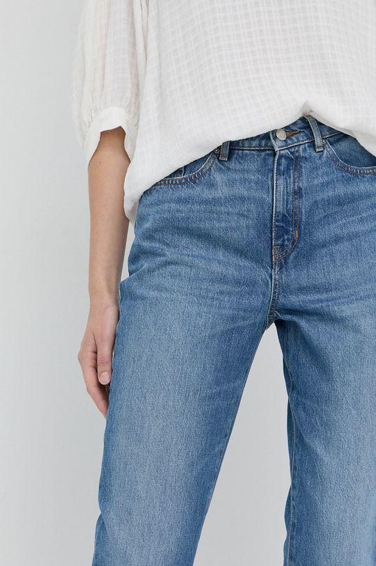 niebieski Boss - Jeansy bawełniane Straight Crop