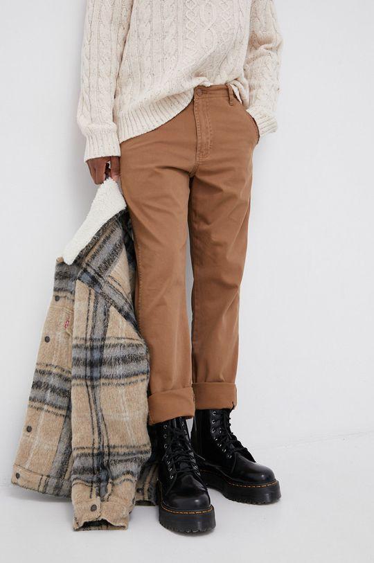 brązowy Wrangler - Spodnie Męski