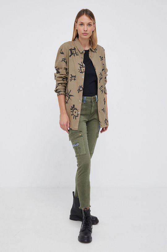 Desigual - Spodnie oliwkowy