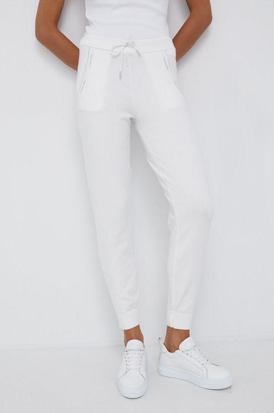 biały Calvin Klein - Spodnie z domieszką wełny Damski