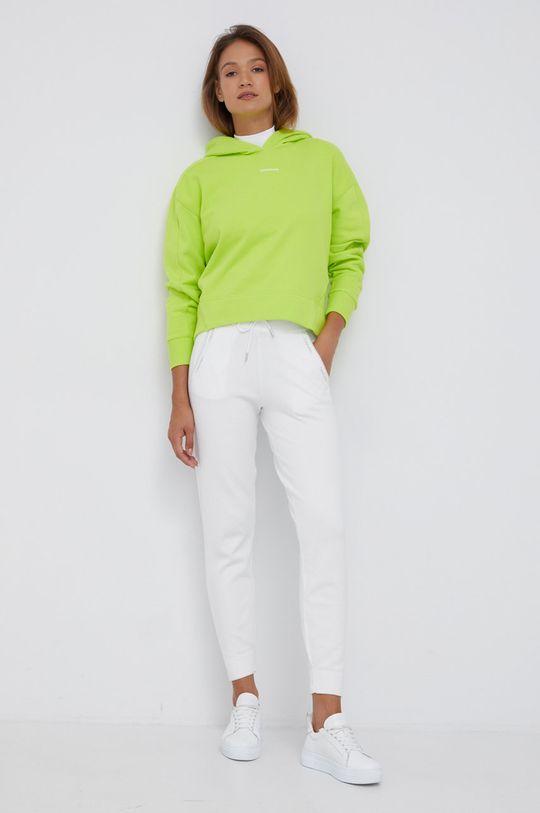 Calvin Klein - Spodnie z domieszką wełny biały