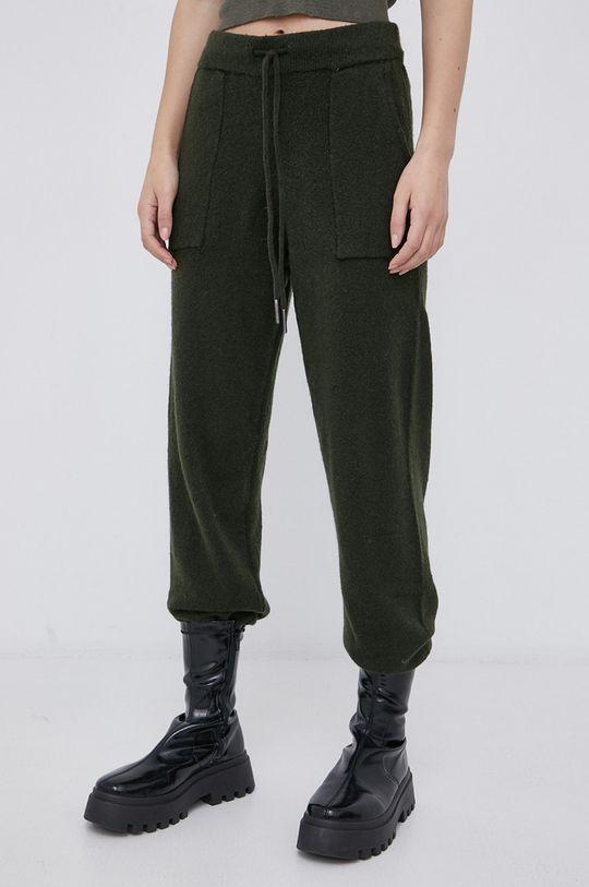 zielony Noisy May - Spodnie z domieszką wełny Damski