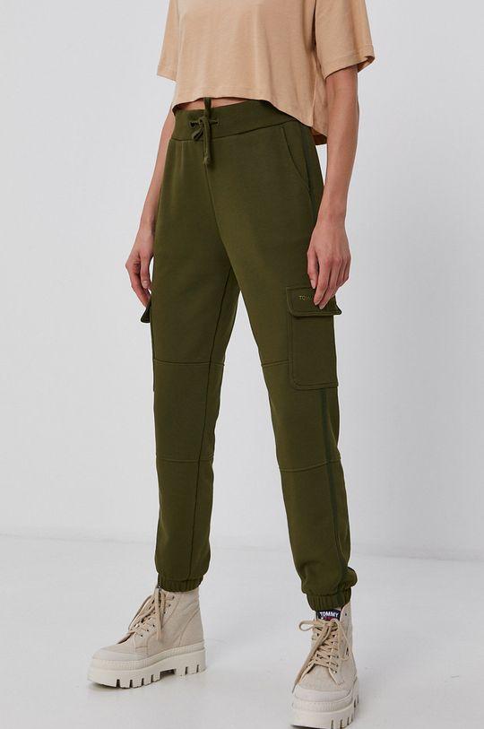 olivová Tommy Jeans - Kalhoty Dámský