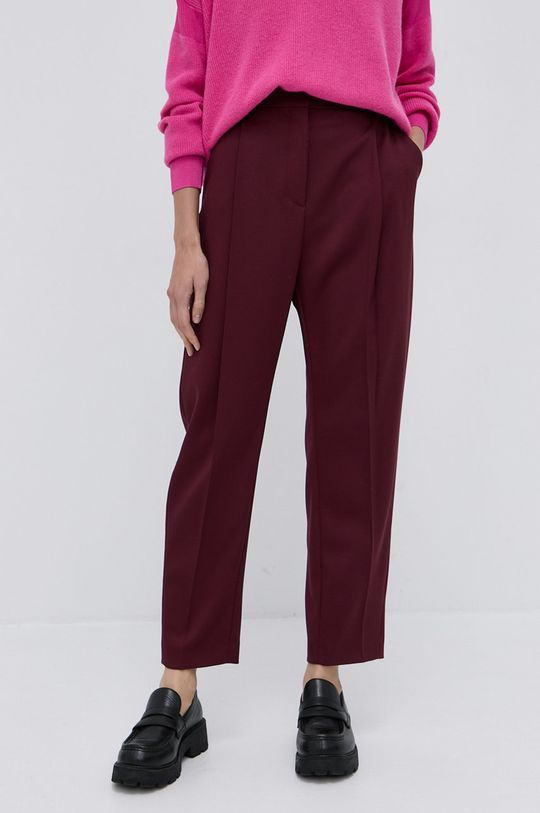 Boss - Spodnie wełniane kasztanowy