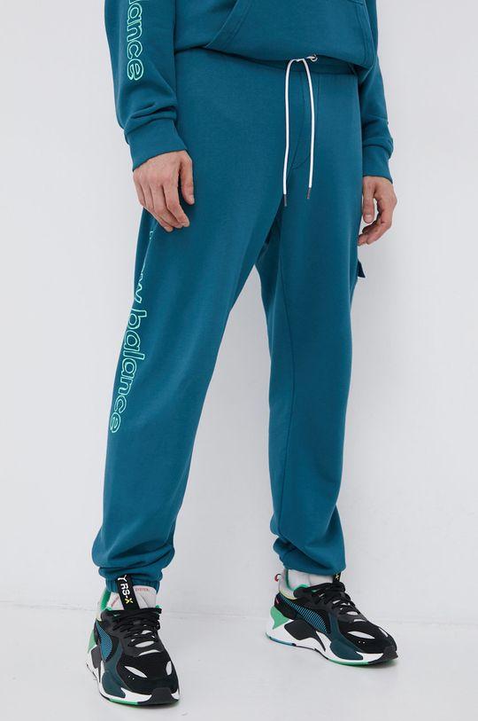 stalowy niebieski New Balance - Spodnie Męski