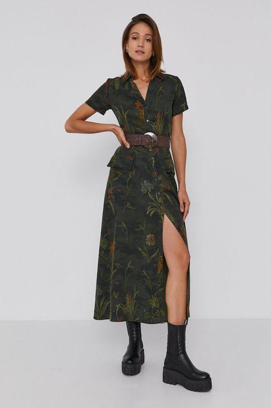 Desigual - Sukienka brązowa zieleń