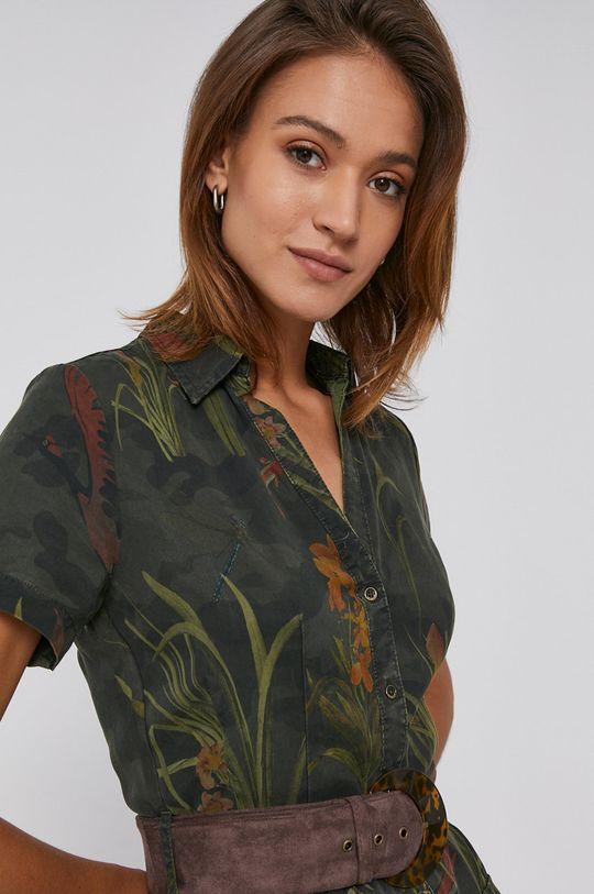 brązowa zieleń Desigual - Sukienka