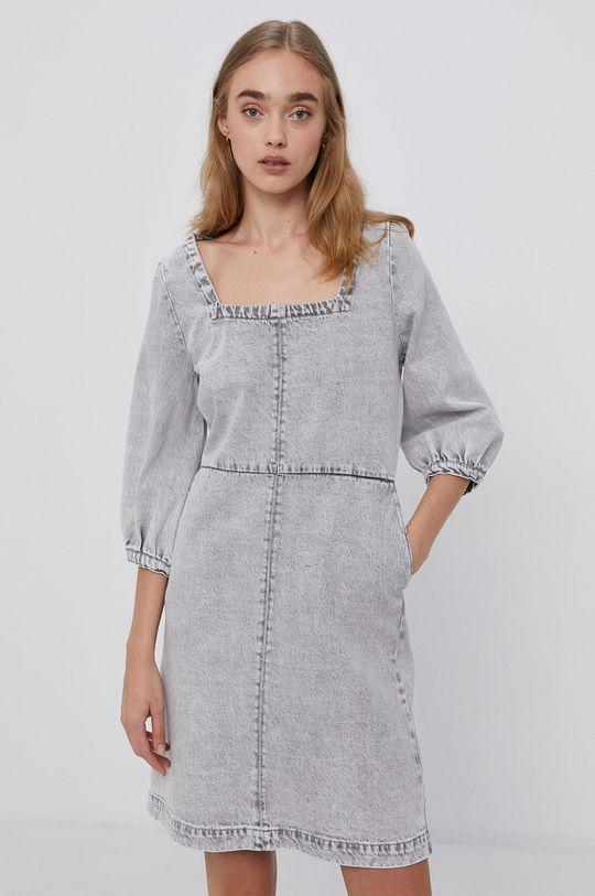 Noisy May - Džínové šaty světle šedá