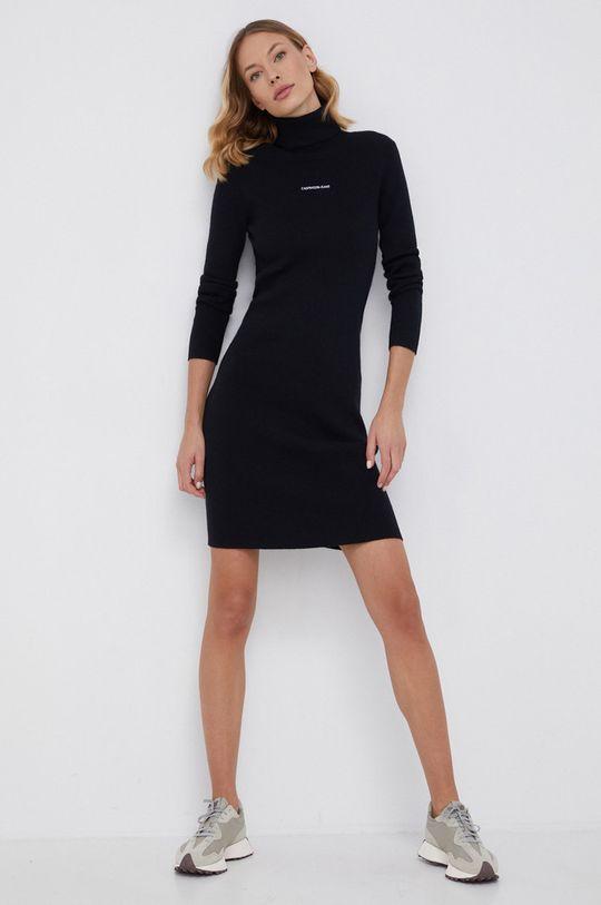 Calvin Klein Jeans - Sukienka z domieszką wełny czarny