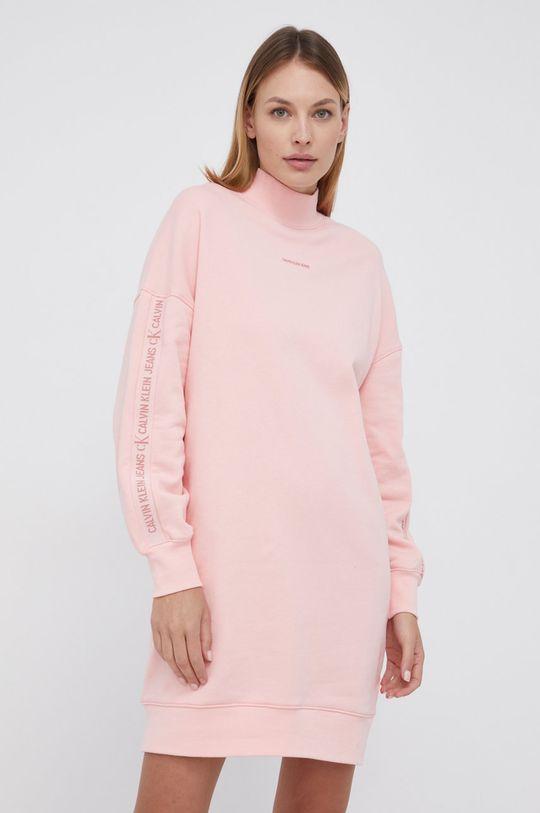 Calvin Klein Jeans - Sukienka bawełniana różowy