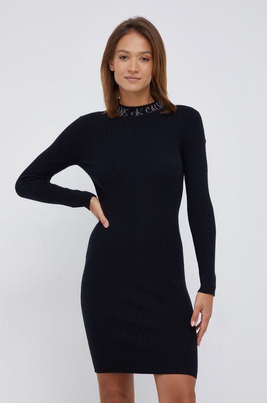 czarny Calvin Klein Jeans - Sukienka z domieszką wełny Damski