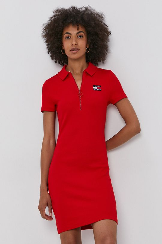 červená Tommy Jeans - Šaty Dámsky