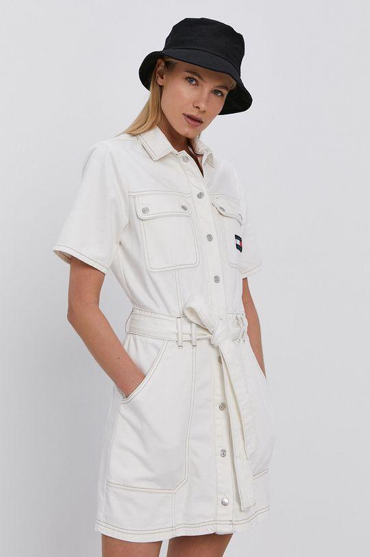 Tommy Jeans - Sukienka jeansowa biały
