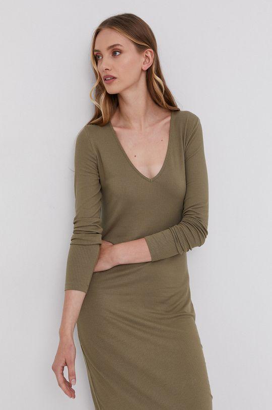 Samsoe Samsoe - Sukienka jasny oliwkowy