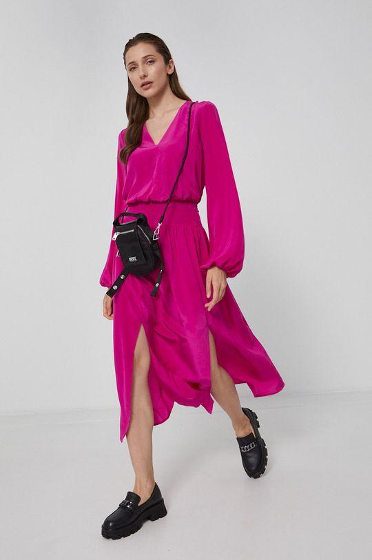Karl Lagerfeld - Sukienka jedwabna fuksja