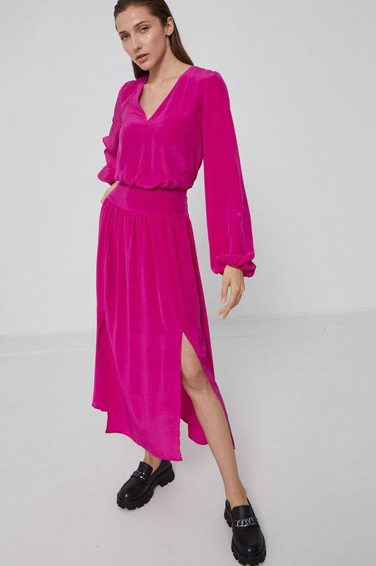 fuksja Karl Lagerfeld - Sukienka jedwabna