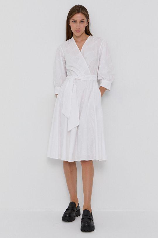Karl Lagerfeld - Sukienka bawełniana biały