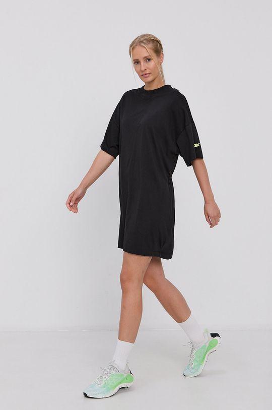 Reebok - Bavlněné šaty černá