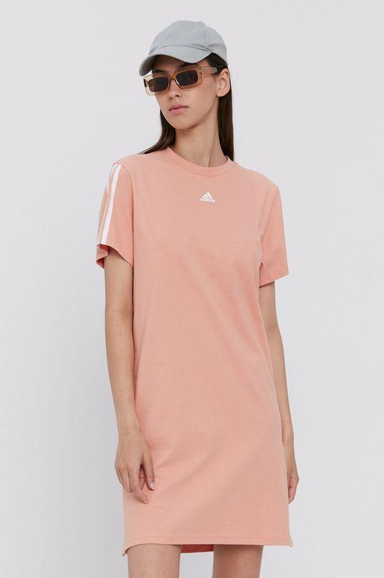 adidas - Sukienka bawełniana pomarańczowy