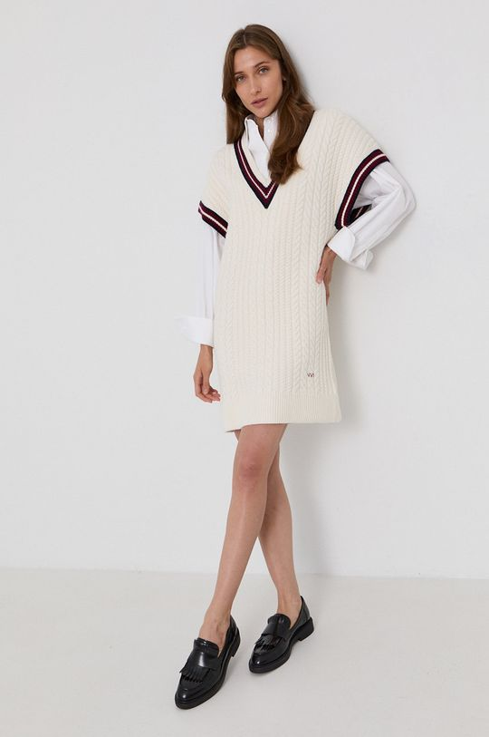 Victoria Victoria Beckham - Sukienka kremowy
