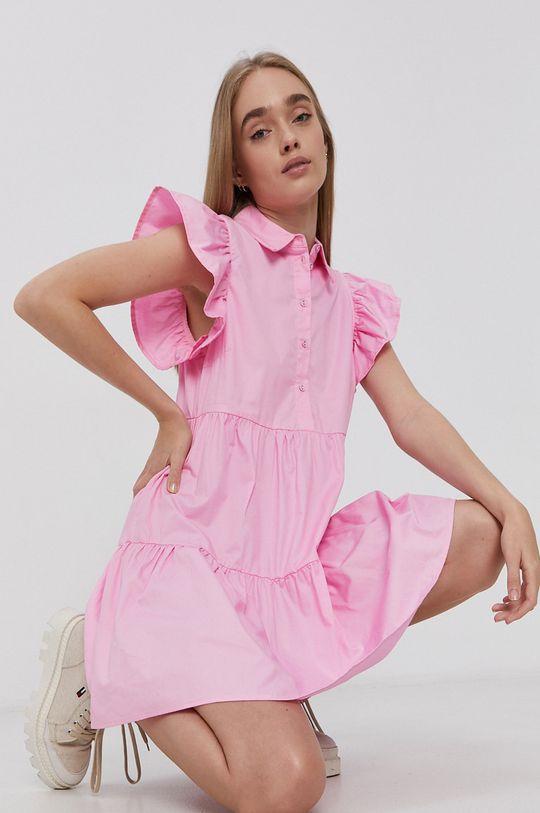 Vila - Sukienka bawełniana różowy