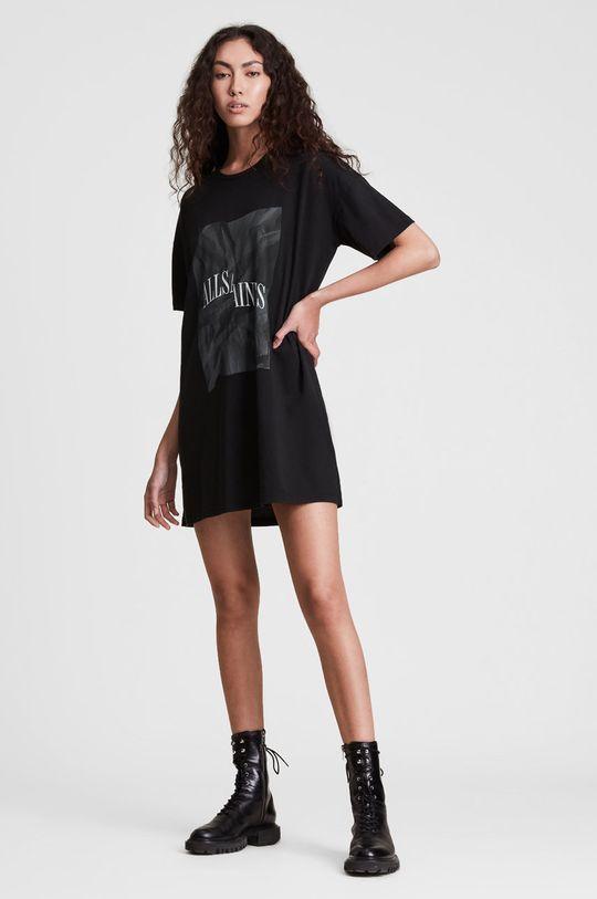 AllSaints - Sukienka bawełniana czarny