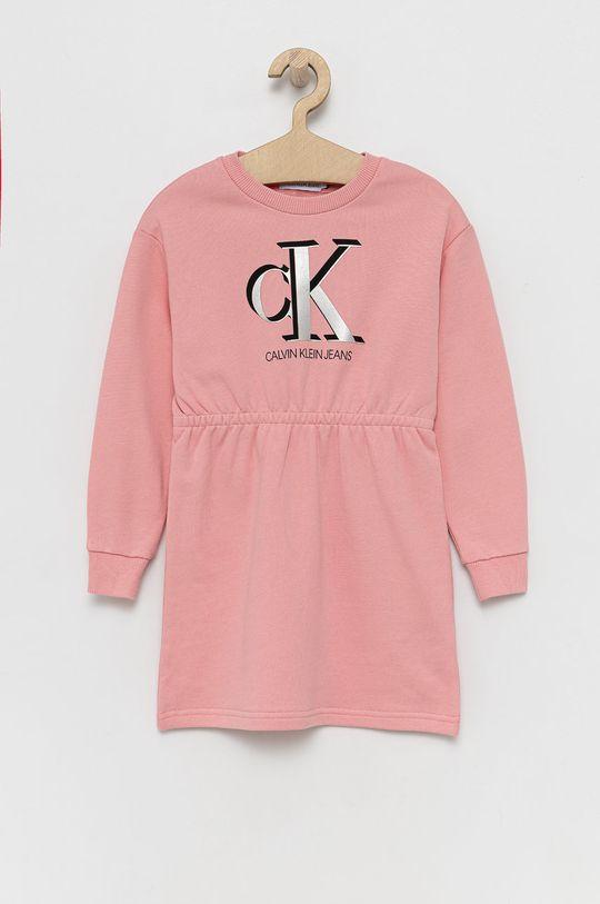 różowy Calvin Klein Jeans - Sukienka dziecięca Dziewczęcy