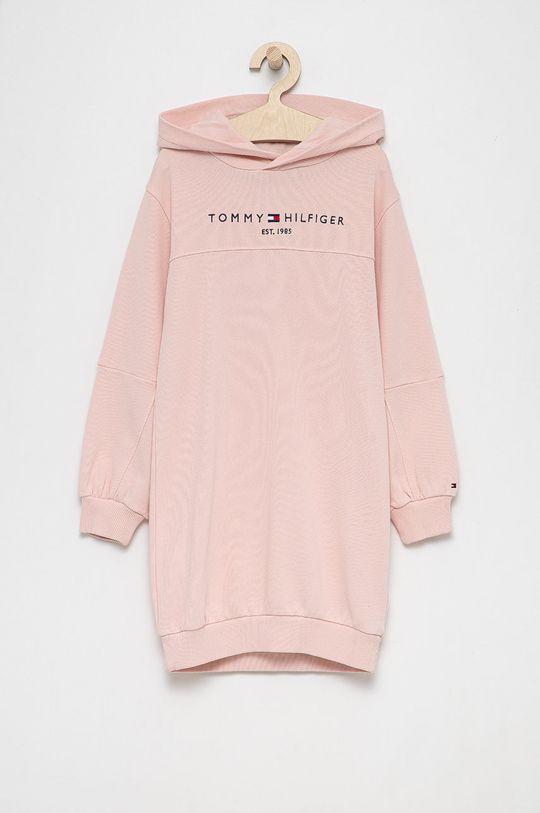 różowy Tommy Hilfiger - Sukienka bawełniana dziecięca Dziewczęcy