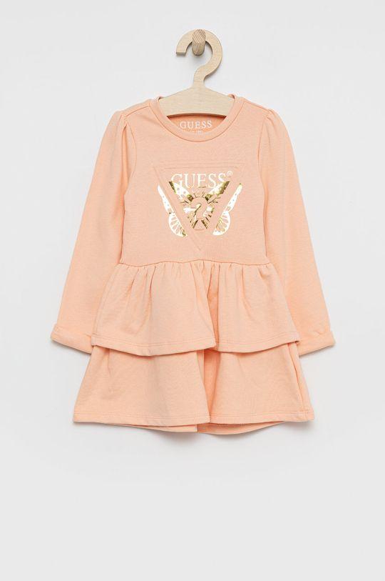 brzoskwiniowy Guess - Sukienka bawełniana dziecięca Dziewczęcy
