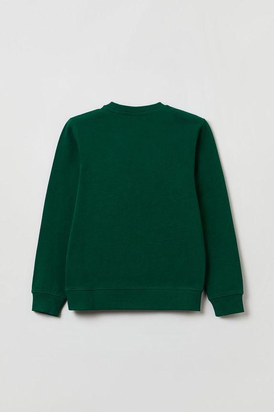 OVS - Bluza bawełniana dziecięca brązowa zieleń