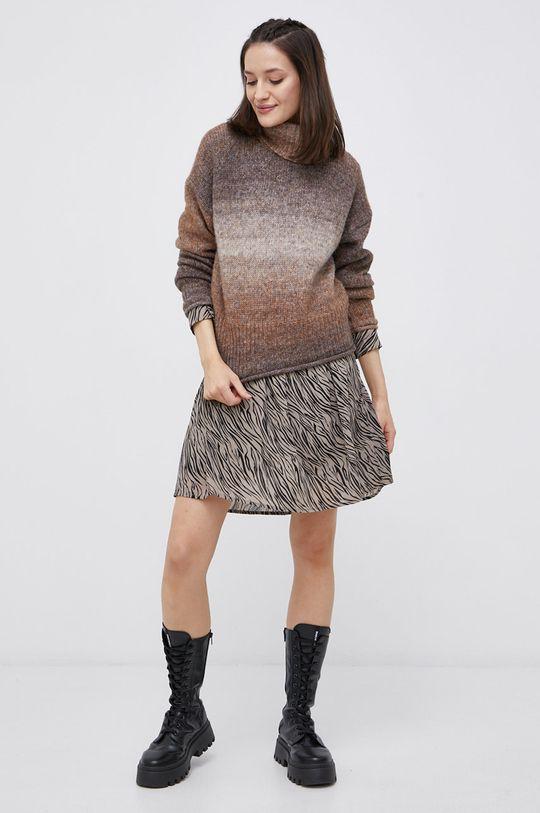 Only - Sweter z domieszką wełny brązowy