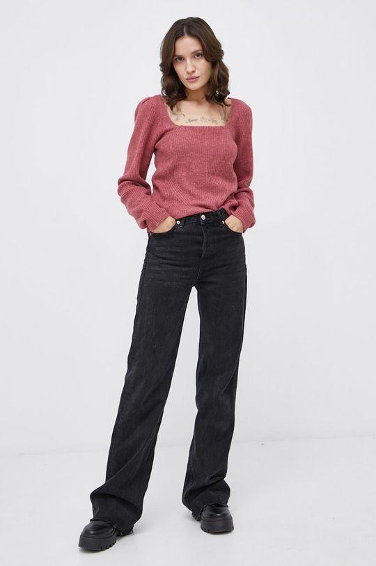Only - Sweter z domieszką wełny fiołkowo różowy