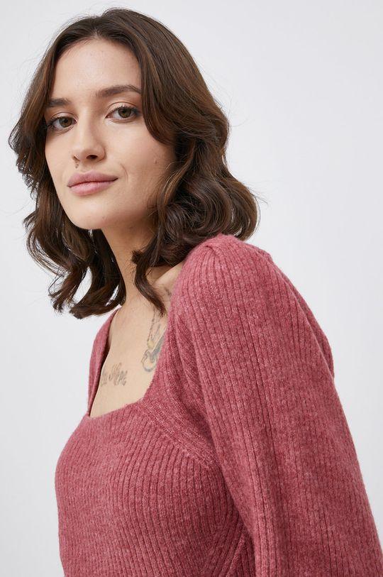 fiołkowo różowy Only - Sweter z domieszką wełny