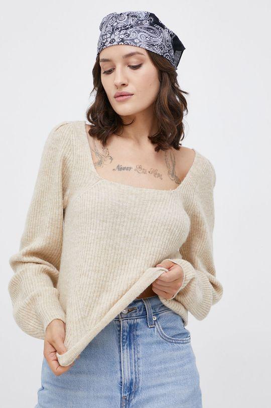 Only - Sweter z domieszką wełny beżowy