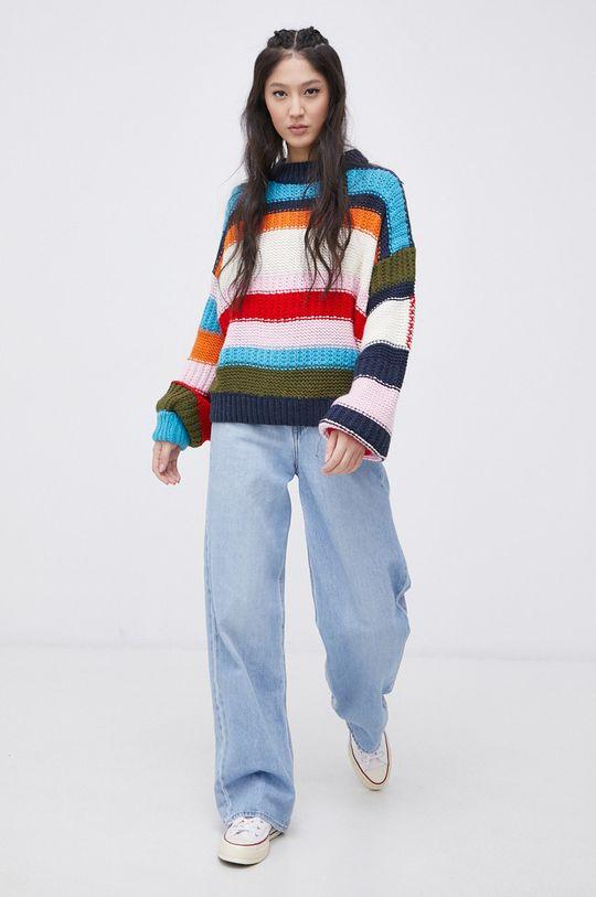 Tommy Jeans - Sweter z domieszką wełny multicolor